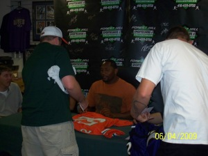 Ray Lewis signs at Forest Hill, it was a sold out event.